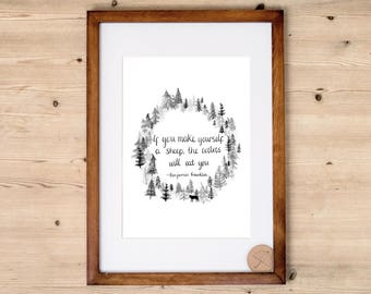 Wolf Art Print | Benjamin Franklin Print | Forest Print | Tree Print | Woodland | Black and White Art Print | Inspirational Quote Print |