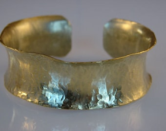 Gold Brass Hammered Bracelet