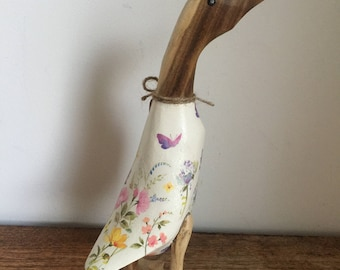 Floral TLC Puddleduck wooden duck