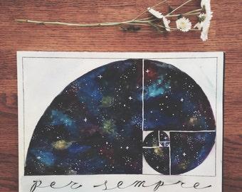 Fibonacci Spiral Sacred Geometry Galaxy - Original Watercolor Piece Print