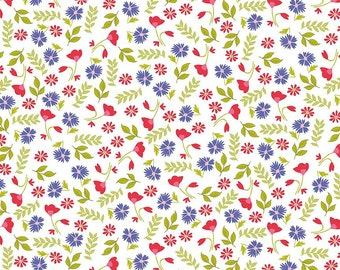 CLEARANCE - Penny Rose Fabrics - Meadow Sweets - Meadow Floral White by Jililly Studios (C5651-WHITE)