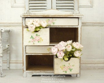 Miniature Dollhouse, Wooden Dresser with Lockers, Roses Decor, Shabby white, 1'' SCALE, Doll's Furniture 1:12th scale