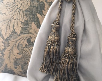 vintage french silk richly coloured gold flecked with black twisted cord curtain tie-back with tassels with latticework thread detail
