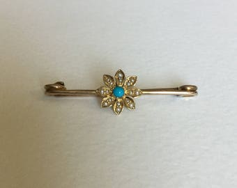 Turquoise and seed pearl brooch or lingerie pin 10k 9k 9ct gold
