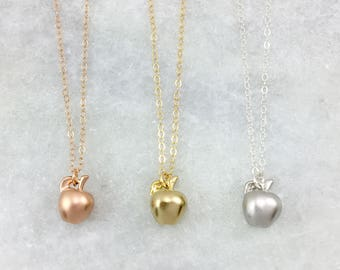 Apple Charm Necklace | Dainty Necklace | Rose Gold Filled | Gold Filled | Sterling Silver