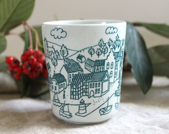 Danish Village. 1960s Nymolle Hoyrup Art Faience small cup, Danish Modern design.