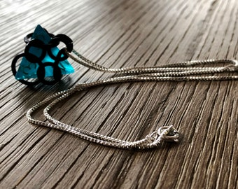 D4 Blue Gamer Jewelry - D4 Dice Jewelry - D4 Blue Dice - Chain Mail Necklace - RPG Jewelry - D&D - Geek Jewelry - Nerd Fashion