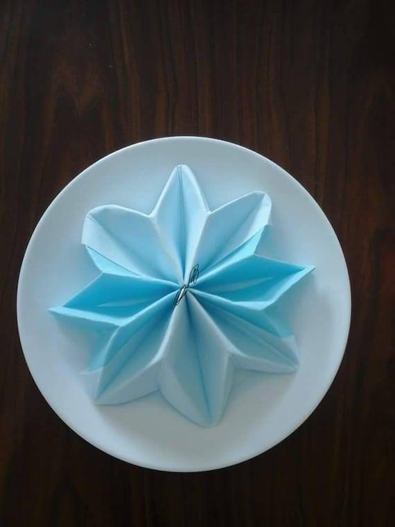Modele De Pliage De Serviette Facile : lot de 20 pliages serviettes en forme flocon bleu et blanc ~ Nature-et-papiers.com Idées de Décoration