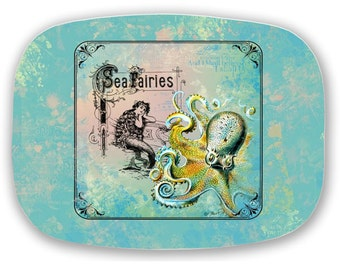 ThermoSaf Mermaid Octopus Sea Monster Vintage Sea Fairy Ephemera Serving Platter Tray 100% Made in USA