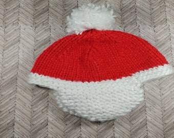 3-6 month old Santa Clause inspired aviator winter hat with pom pom;  bulky 3-6 month old hat