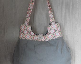 NEW!---Grey and Peach Shoulder Bag in Classic Pear Shape---FREE SHIPPING