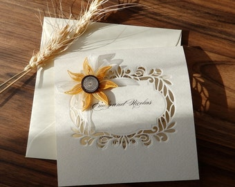 Handmade sunflower wedding invitation/Elegant sunflower invitation/Doily sunflower invitation/Luxury wedding invitation/Country invitation
