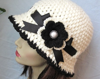 Off White Cream Women Cloche, Flower, Pearl Button, Natural, Black Ribbon, Birthday Gifts, Tea Party, Photo Props, Handmade, JE280CFALL6