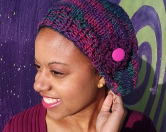 Slouchy hat, winter hat,knit slouchy hat, knit hat with flower, purple slouchy hat, slouchy hat, knit rainbow hat, knit hat, purple knit hat