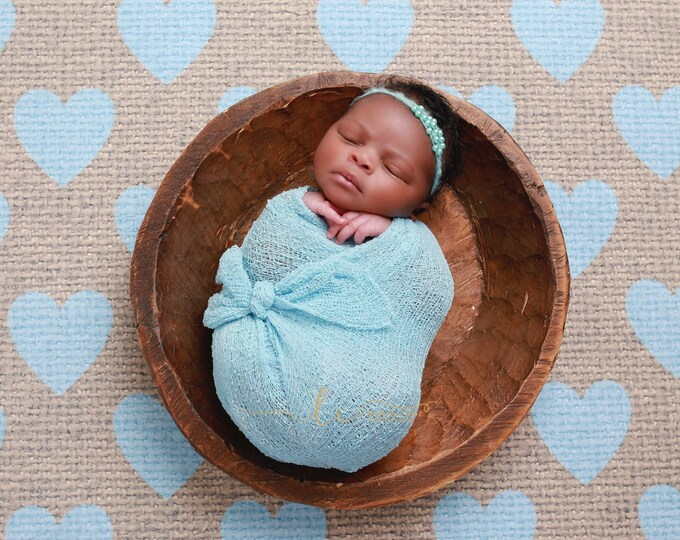 Sky Blue Stretch Knit Swaddle Wrap 39 x 72 inches, AND/OR matching headband for newborn photos, photographer, sky blue, Lil Miss Sweet Pea