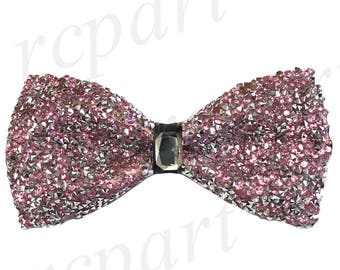 New Men's rhinestones Pre-Tied Bowtie pink white, for Formal Occasions