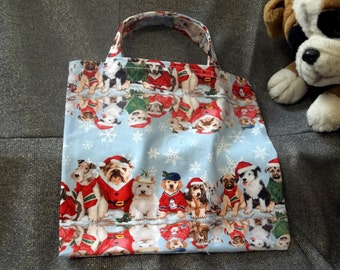 Holiday Small Gift Tote Bag, Santas Finest Dressed Dogs on Blue Print