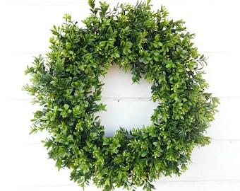 Farmhouse Wreath-BOXWOOD Wreath-Farmhouse Decor-Summer Wreath-Year Round Wreath-Outdoor Wreath-YearRound Wreath-Housewarming Gift