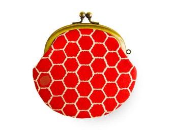 Metal frame coin purse // Hexagon Orange