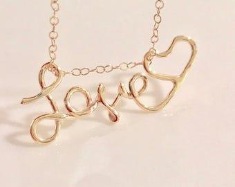 10k love pendant, 14k love pendant, 14k love charm, 14k love pendant necklace, 14k love pendant charm, 14k love word pendant, 10k love word