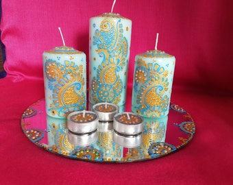 Decorative Personalised Henna mehndi candles, wedding, Christmas, birthday gifts