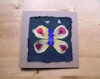 Butterfly Greeting Card. Pressed Flower Card. Blank inside for your own message. Hand-made card using home-grown flowers.