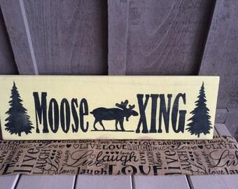 Moose Crossing Custom Wood Sign // rustic // moose decor // moose // cabin decor // cottage decor // canada decor