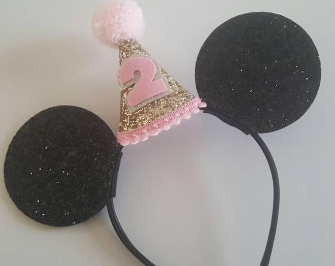 Glittery Mouse Ears Headband | Birthday Ears | Mouse Headband | Ears | Mouse Birthday |