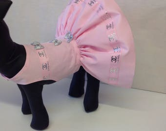 Precious pup designer party dress with pink and silver ribbons