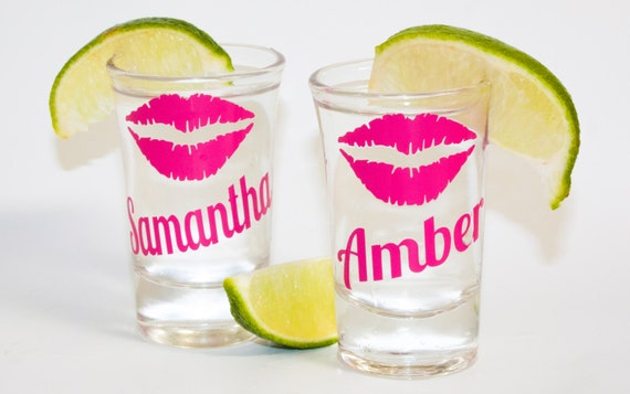 Monogrammed Shot Glass, Bridesmaid shot glasses, Maid of Honor, Bridesmaid, Matron of Honor, bachelorette party, girl's trip, girl's weekend