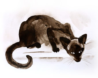 Siamese nosy cat watercolor Digital Download Art printable, brown sepia animal art, watercolor painting for cat lovers, art craft supplies