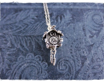 Silver Cuckoo Clock Necklace - Sterling Silver Cuckoo Clock Charm on a Delicate Sterling Silver Cable Chain or Charm Only