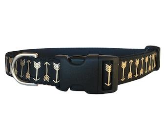 Gold Arrow Dog Collar - Adjustable Gold Foil