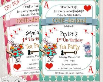 ONEDERLAND TEA PARTY Un-Birthday Invitation, 1st Birthday Tea Party, Un-Birthday Wonderland, Pdf, DiY, Instand Download, Alice in Wonderland