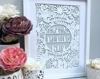 Framed Wedding papercut, wedding gift, personalized wedding gift, personalised wedding gift, handmade wedding gift, wedding frame, unique