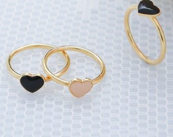 Gold Heart Ring, Knuckle Ring, Pinky Or Midi Ring, Love Thin Gold Ring, Stackable Skinny Gold Filled Ring, Dainty Jewelry.