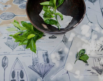 African Mud Tablecloth Hand Painted