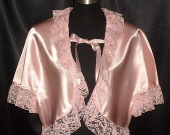 Darling Vintage Pink Satin Handmade Bedjacket S/M