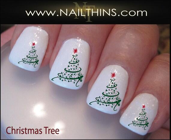 - Christmas Swirl Nail Decals Holiday Tree Nail Design Nail Art