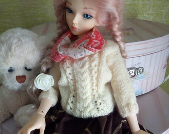 "Minifee Slim MSD BJD 1/4 Set ""Beige chocolate"" knitted for dolls"