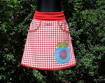 Rock STRAIGHT FROM PARADISE Vichy meets Apple ladies skirt skirt vichy meets apple