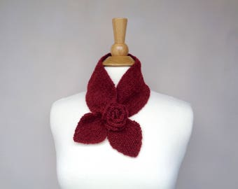 Ascot Scarf with Rose Flower, Pull Through Keyhole Scarf, Burgundy Red,, Small Neck Scarf, Hand Knit Neck Warmer, Alpaca Merino