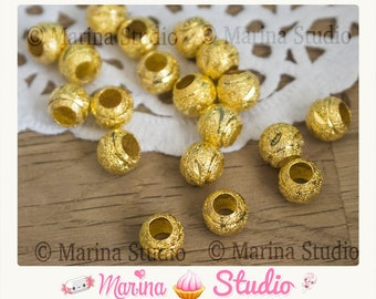 20 stardust gold color 8mm frosted beads