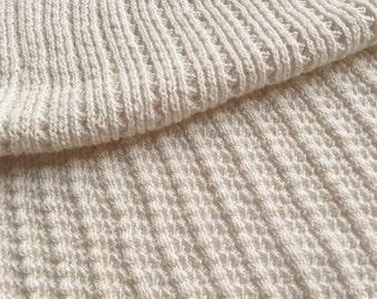Natural White Sustainable Cotton Sweater Knit, Textured Rib Fashion Fabric by the half yard - Saratoga Rib