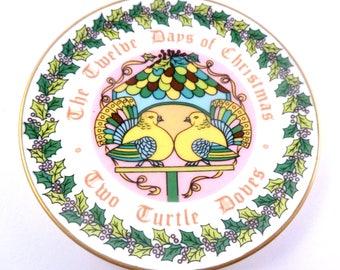 Vintage Coalport,  Bone China,  Twelve Days Of Christmas Plate, Trinket Dish,  Two Turtle Doves, 1980.