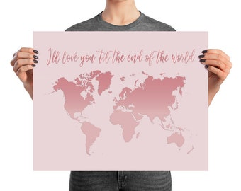 Rose Gold Matte PAPER POSTER Pink World Map Map Of The - Pink world map poster