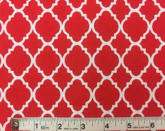 Item 505, 100% Cotton Fabric, Red White Quatrefoil, By the Yard
