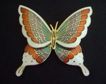 Vintage Cloisonne Butterfly Brooch