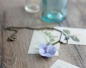 Purple flower necklace - hydrangea necklace - flower pendant - purple pendant - hydrangea jewelry - flower jewelry - botanical necklace