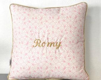 Origami rose embroidery name cushion